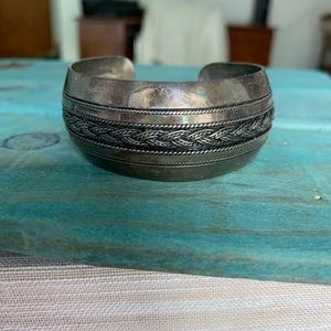 Vintage Bangle Cuff Bracelet Gunmetal Rope Detail